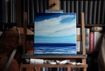 """Bestes Segelwetter - Borkumriffgrund"" 2014 (Öl auf Leinwand 30 x 30)"