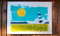 """""""Blauer Leuchtturm III"""" 2015 (Acryl und Ölpastellkreide auf Leinwand, 30 x 40)"""