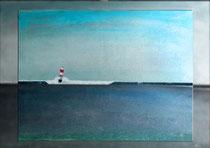 """Roter Leuchtturm IV"" 2015 (Acryl und Ölpastellkreide auf Leinwand, 60 x 80)"