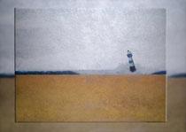 """""""Blauer Leuchtturm, goldener Strand"""" 2015 (Acryl und Ölpastellkreide auf Leinwand, 60 x 80)"""