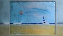 """""""Blauer Leuchtturm mit Mond"""" 2015 (Acryl und Ölpastellkreide auf Leinwand, 60 x 80)"""