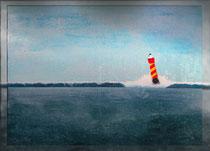 """""""Rot-gelber Leuchtturm II"""" 2018 (Acryl und Ölpastellkreide auf Leinwand, 60 x 80)"""