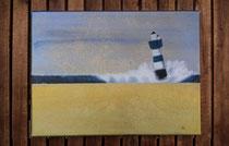 """""""Blauer Leuchtturm nach Sonnenuntergang"""" 2015 (Acryl und Ölpastellkreide auf Leinwand, 30 x 40) - VERKAUFT"""