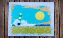 """Grüner Leuchtturm"" 2015 (Acryl und Ölpastellkreide auf Leinwand, 30 x 40) - (verkauft)"