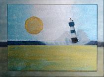 """""""Blauer Leuchtturm IV"""" 2015 (Acryl und Ölpastellkreide auf Leinwand, 30 x 40) - VERKAUFT"""
