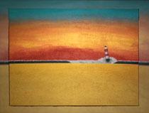 """""""Roter Leuchtturm im Abendrot"""" 2015 (Acryl und Ölpastellkreide auf Leinwand, 60 x 80)"""