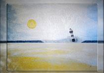 """""""Morgensonne mit grauem Leuchtturm"""" 2015 (Acryl und Ölpastellkreide auf Leinwand, 60 x 80)"""