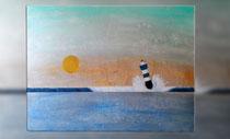 """""""Blauer Leuchtturm II"""" 2015 (Acryl und Ölpastellkreide auf Leinwand, 60 x 80)"""