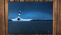 """""""Nachts am Meer - blauer Leuchtturm"""" 2015 (Acryl und Ölpastellkreide auf Leinwand, 30 x 40)"""