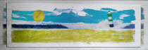 """""""Gelber Leuchtturm"""" 2015 (Acryl und Ölpastellkreide auf Leinwand, 30 x 90)."""