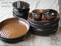 15-08. Глиняные тарелки ручной работы.
