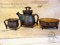 9-012.  Чёрнолощёный чайник с инфундиркой, кружки и плошка.