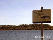 Warnung vor Krokodilen am benachbarten Lake Belmore