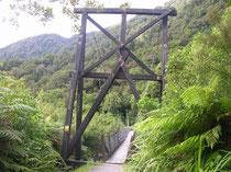 Im Lowland Regenwald: Hängebrücke über den Cook River