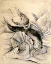 Garnele mit Fisch auf dem Tisch (Tuschezeichnung / 42 x 29,7 cm)