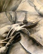 Garnele mit Fisch in der Pfanne (Tuschezeichnung / 42 x 29,7 cm)