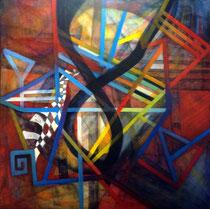 Enlazados en el Infinito (Mixta sobre lienzo) 100x 100 cms