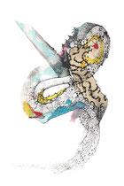 KERUBIEL - Miriada de Ojos (Myriad of Eyes) Serie Vibrato Angélico  (Mixta sobre papel) 70 x 50 cms   /En Arte Actual Gallery On Line