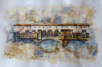 Hommage an Leonardo und Florenz, Collage, Aquarell, ca 80 x 60 cm