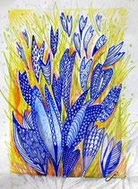 Krokusse, Stifte Aquarell, 40 x 30 cm