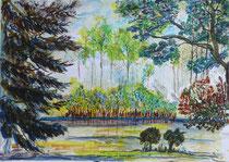 Landschaft, Aquarell mit Übermalungen, 40 x 30 cm