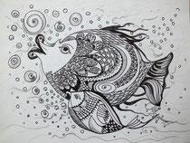 Familie Fisch, Stifte, 30 x 40 cm