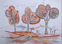 Drei Bäume, Stifte, 30 x 40 cm