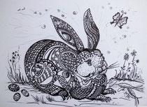 Dürers Hase- einmal anders!. Stifte, 30 x 40 cm