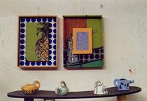 Ateliersituation Ananasdiptychon und Teekannen