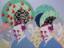 Picknick mit Zwillingen, 1996, 150 x 200 cm, Acryl, Gouache auf Nessel