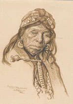 Vielle indienne Aracauna de Temuco Chili 1925 fusain André Aaron Bilis