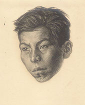 jeune indien 1925 fusain André Aaron Bilis