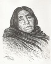 indienne Araucana Chili 1925 fusain André Aaron Bilis