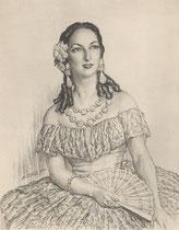Pauline Salmona (La Traviata) 1950 fusain André Aaron Bilis