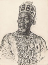 Zounon Madje -roi de la Nuit- Chef Supérieur de Porto Novo, Dahomey exposition coloniale Paris 1931 fusain André Aaron Bilis