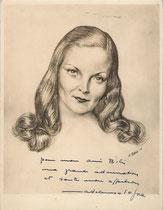 Madeleine Sologne 1948 fusain André Aaron Bilis