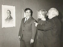 Exposition à Lisbonne en 1969 A.Bilis avec Suzanne, sa femme, et Joao Queiroz
