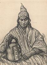 jeune indien 1923 fusain André Aaron Bilis