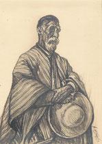 Vieux créole de Tilcara Argentine1925 fusain André Aaron Bilis