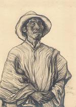 L'aveugle de Tilcara Argentine 1925 fusain André Aaron Bilis