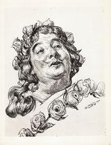 Porterat -Comedie Française (Cyrano de Bergerac) 1964 fusain André Aaron Bilis