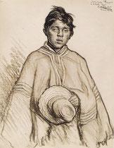 Jeune Indien Teuqué de Temuco Chili 1925 fusain André Aaron Bilis