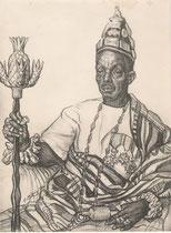Le Roi de l'or Soudan  exposition coloniale Paris 1931 fusain André Aaron Bilis