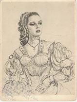 Jeanne Moreau 1950 fusain André Aaron Bilis