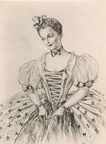 Casadesus Gisèle  -Comedie Française (le jeu de l'amour et du hasard) 1953  fusain André Aaron Bilis