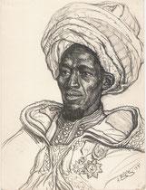 Sidy N'Diaye Chef de Passa Bakal Djioloff, Sénegal exposition coloniale Paris 1931 fusain André Aaron Bilis