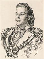 Jean Piat  -Comedie Française  (Figaro) 1955 fusain André Aaron Bilis