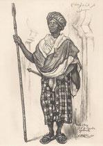 Arle Elany Chef des Somalis, Ddjibouti exposition coloniale Paris 1931 fusain André Aaron Bilis