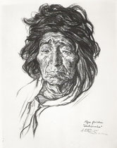 Vielle femme de Tilcara Argentine  1925 fusain André Aaron Bilis