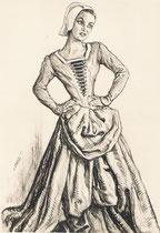 Denyse Noêl -Comedie Française (L'annonce faite à Marie) 1955 fusain André Aaron Bilis